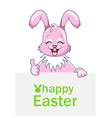 cheerful rabbit with sheet of paper for happy vector image