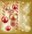 christmas background in red and gold with copy vector image