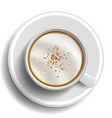 coffee cup top view hot latte coffee vector image