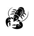 crayfish glyph icon underwater sea animals vector image