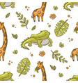 crocodile and giraffe hand drawn grunge seamless p vector image vector image