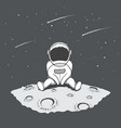 cute astronaut sits on moon and looking to stars vector image vector image