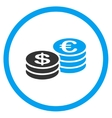 Dollar And Euro Coin Stacks Rounded Icon vector image