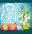 easter greeting card with colored eggs and flowers vector image vector image