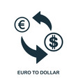 euro to dollar icon mobile app printing web vector image vector image