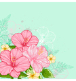 Hand drawn tropical flowers vector image vector image