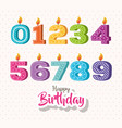 happy birthday candles set icons vector image