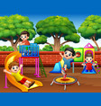 happy children playing in the playground at daytim vector image vector image