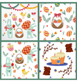 happy easter set backgrounds and elements vector image
