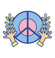 hippie emblem with hands and branches design vector image vector image