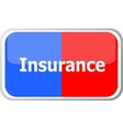 insurance word on web button icon isolated vector image vector image