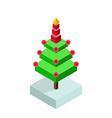 Isometric christmas tree icon vector image