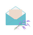 letter in blue envelope with bouquet of lavender vector image vector image