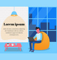 man in headphones with laptop in a chair bag vector image
