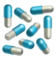 Medical blue capsule with granules vector image vector image