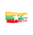 myanmar flag on a white
