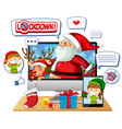online xmas celebration through mobile device vector image vector image