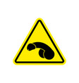penis warning feminist sign yellow member hazard vector image vector image