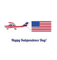 plane in the sky with american flag vector image
