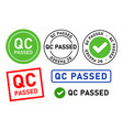 qc passed pass quality control label tag seal vector image