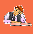 red-haired schoolboy in a tie sits with a pensive vector image vector image