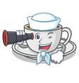 sailor with binocular coffee character cartoon vector image vector image