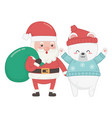 santa with bag and polar bear celebration merry vector image