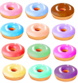 set colored donuts vector image