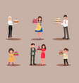 set of characters with a cake office worker vector image