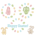 Set of easter symbols - easter eggs and bunnies vector image vector image