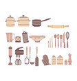 set of kitchen accessories collection vector image vector image