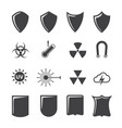 shield and protection icons set on texture vector image