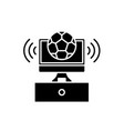 sports broadcast black icon sign on vector image