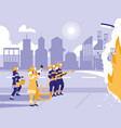 street with firefighters putting out fire vector image