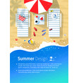summer vacation flyer design vector image vector image
