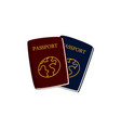 two cartoon passports travel documents vector image