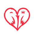 two kissing birds heart sign shape love couple vector image