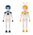 two robots of blue and yellow color in a flat vector image vector image