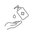 washing hand with sanitizer vector image