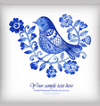 watercolor background with blue flowers and birds vector image vector image