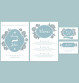 wedding invitation card with light blue vector image