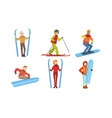 winter sport activities set different people in vector image