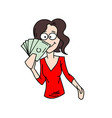 woman holding on to money vector image