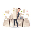 workload businessman overwork office manager vector image vector image