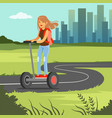 young sportive woman riding on scooter on cit vector image vector image