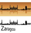 Zaragoza skyline in orange background vector image vector image