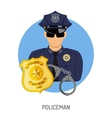 Policeman Icon with Badge vector image