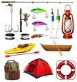 Set of camping and fishing equipment vector image