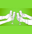 sketched hands group clinking glass of champagne vector image