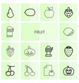 14 fruit icons vector image vector image